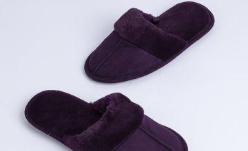 Purple Fleece Lined Mule Slippers
