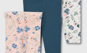 Floral & Teal Leggings 3 Pack