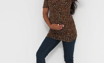 Maternity Leopard Print Jersey T-Shirt