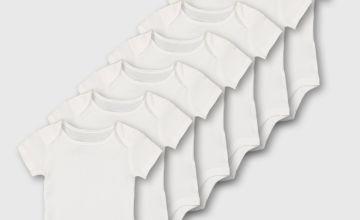 White Short Sleeve Bodysuit 7 Pack
