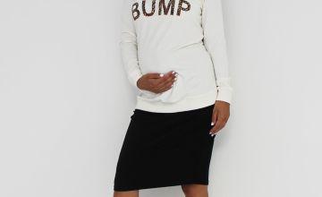 Maternity Animal Print Slogan Sweatshirt