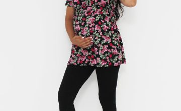 Maternity Floral Print Tie Side Tunic