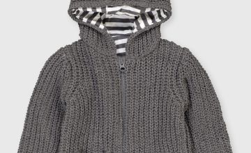 Grey Knitted Lined Cardigan With Hood