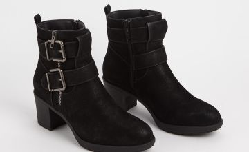 Sole Comfort Black Heeled Double Strap Boots