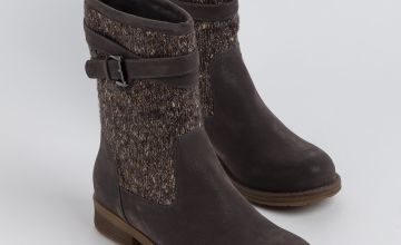 Sole Comfort Grey Knitted Buckle Boots