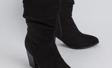 Sole Comfort Black Faux Suede Heeled Slouch Boots
