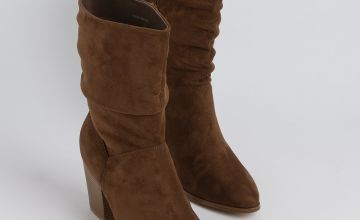 Sole Comfort Tan Faux Suede Heeled Slouch Boots