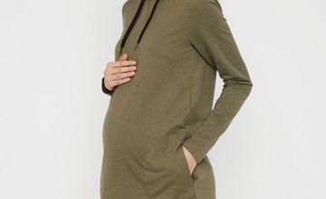 Khaki Hooded Maternity Sweatshirt Dress