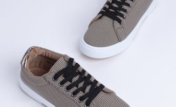 Check Lace Up Platform Trainers