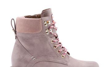 Pink Padded Collar Vegan Hiker Boots