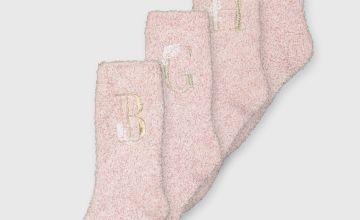 Pink Alphabet Initial Fluffy Socks