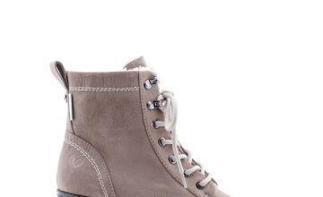 Beige Heeled Vegan Hiker Boots