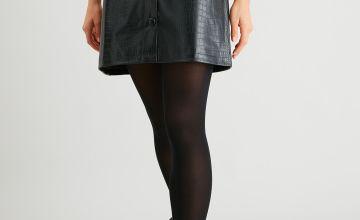 Black Mock Croc Faux Leather Skirt
