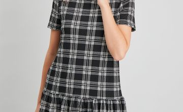 Black Check Drop Hem Dress