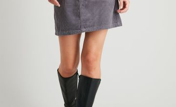 Grey Corduroy Mini Skirt