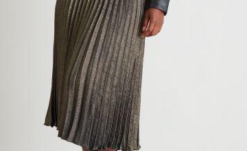 Metallic Gold & Black Pleated Skirt