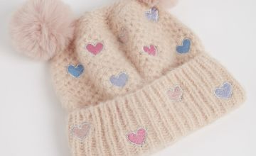 Pink Heart Pom Pom Beanie Hat