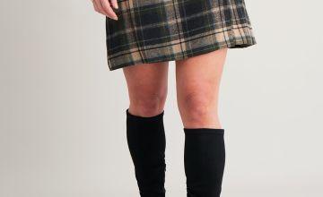 Green Brushed Check Kilt-Style Skirt