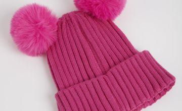 Pink Soft Touch Pom Pom Beanie Hat