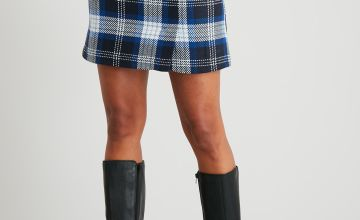 Navy Check Mini Skirt