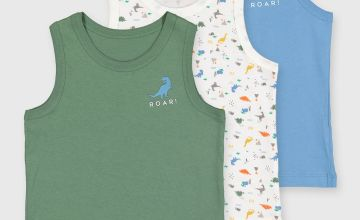 Green & Blue Dinosaur Vests 3 Pack