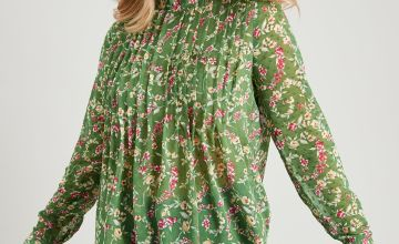 Green Floral Print Pintuck High Neck Blouse
