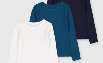 Blue Thermal Long Sleeve T-Shirts 3 Pack