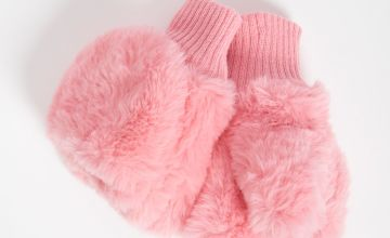 Pink Faux Fur Flip Over Mittens