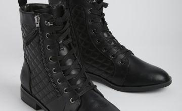 Black Quilted Zip-Up Biker Boots