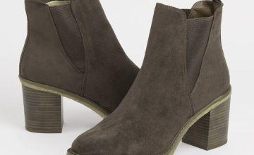 Sole Comfort Brown Heeled Chelsea Boots