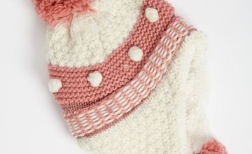 Pink Knitted Trapper Hat