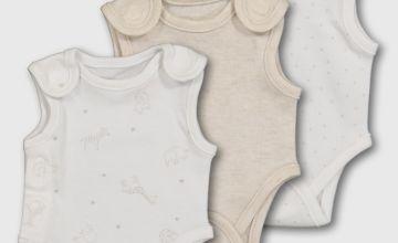 White Premature Baby Bodysuits 3 Pack