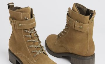 Sole Comfort Suede Tan Lace Up Boots