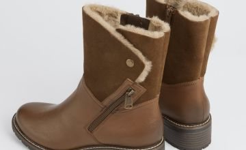 Sole Comfort Tan Leather Faux Fur Lined Boots