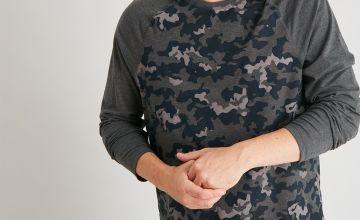 Grey Camo Print Pyjama Set