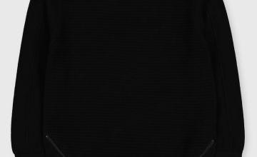 Black Zip Detail Crew Neck Jumper
