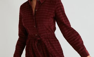 Dark Red Needle Cord Tonal Check Shirt Dress