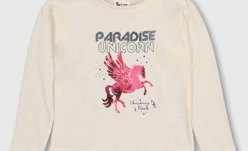 Cream 'Paradise Unicorn' Long Sleeve Top