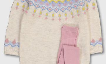 Cream Fair Isle Knitted Dress & Tights