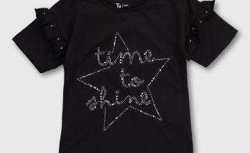 Black Studded Slogan T-Shirt