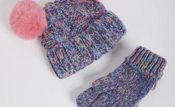 Rainbow Knit Pom Pom Beanie Hat & Gloves