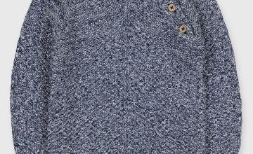 Navy Twist Knit Jumper