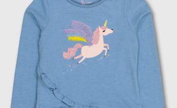 Blue Unicorn Ruffle Top