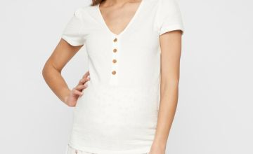 White Button Front 2-In-1 Maternity Top