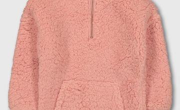 Pink Borg Half Zip Fleece