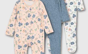 Floral & Animal Print Sleepsuit 3 Pack