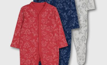 Geo Print Dinosaur Sleepsuit 3 Pack