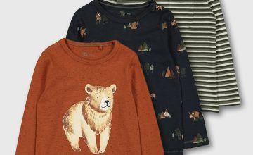 Stripe, Bear & Tree Print Tops 3 Pack