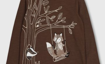 Brown Animal Graphic Top