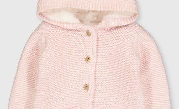 Pink Hooded Faux Fur Lined Cardigan